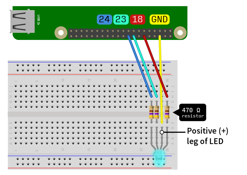 Take note of the pins the wires are hooked up to, as the order matters. Diagram made with Fritzing (http://fritzing.org/home/).